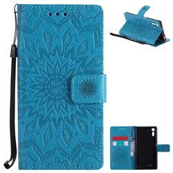 Embossing Sunflower Leather Wallet Case for Sony Xperia XZ - Blue