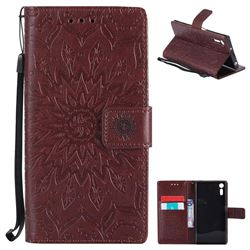 Embossing Sunflower Leather Wallet Case for Sony Xperia XZ - Brown