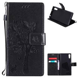 Embossing Butterfly Tree Leather Wallet Case for Sony Xperia XZ - Black