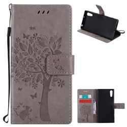 Embossing Butterfly Tree Leather Wallet Case for Sony Xperia XZ - Grey