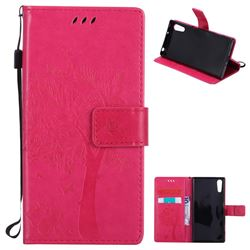 Embossing Butterfly Tree Leather Wallet Case for Sony Xperia XZ - Rose