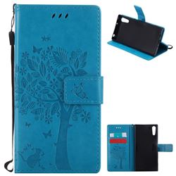 Embossing Butterfly Tree Leather Wallet Case for Sony Xperia XZ - Blue