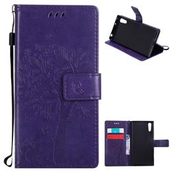 Embossing Butterfly Tree Leather Wallet Case for Sony Xperia XZ - Purple