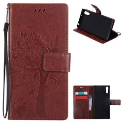 Embossing Butterfly Tree Leather Wallet Case for Sony Xperia XZ - Brown