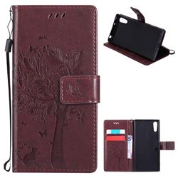 Embossing Butterfly Tree Leather Wallet Case for Sony Xperia XZ - Coffee