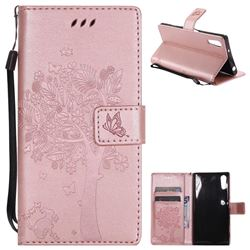 Embossing Butterfly Tree Leather Wallet Case for Sony Xperia XZ - Rose Pink