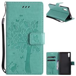 Embossing Butterfly Tree Leather Wallet Case for Sony Xperia XZ - Cyan
