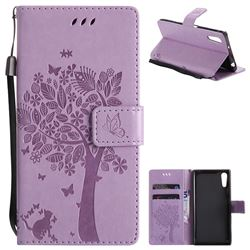 Embossing Butterfly Tree Leather Wallet Case for Sony Xperia XZ - Violet