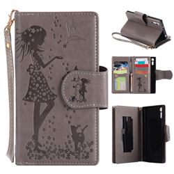Embossing Cat Girl 9 Card Leather Wallet Case for Sony Xperia XZ - Gray