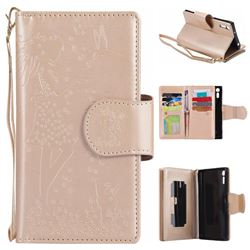 Embossing Cat Girl 9 Card Leather Wallet Case for Sony Xperia XZ - Gold