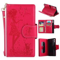 Embossing Cat Girl 9 Card Leather Wallet Case for Sony Xperia XZ - Red