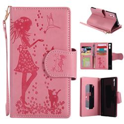 Embossing Cat Girl 9 Card Leather Wallet Case for Sony Xperia XZ - Pink