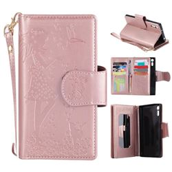Embossing Cat Girl 9 Card Leather Wallet Case for Sony Xperia XZ - Rose Gold