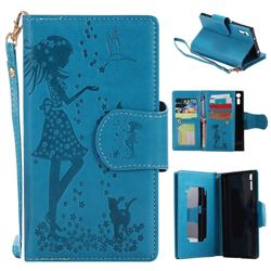 Embossing Cat Girl 9 Card Leather Wallet Case for Sony Xperia XZ - Blue