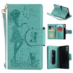 Embossing Cat Girl 9 Card Leather Wallet Case for Sony Xperia XZ - Green