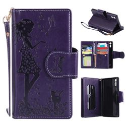 Embossing Cat Girl 9 Card Leather Wallet Case for Sony Xperia XZ - Purple