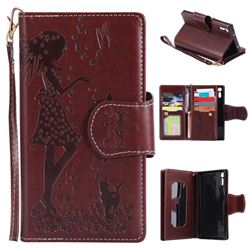 Embossing Cat Girl 9 Card Leather Wallet Case for Sony Xperia XZ - Brown