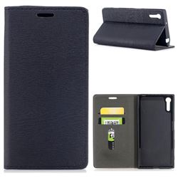 Tree Bark Pattern Automatic suction Leather Wallet Case for Sony Xperia XZ XZs - Black