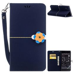 Gold Velvet Smooth PU Leather Wallet Case for Sony Xperia XZ XZs - Navy Blue