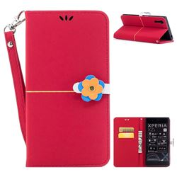 Gold Velvet Smooth PU Leather Wallet Case for Sony Xperia XZ XZs - Red