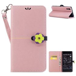 Gold Velvet Smooth PU Leather Wallet Case for Sony Xperia XZ XZs - Rose Gold