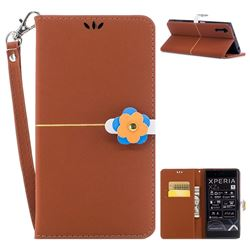 Gold Velvet Smooth PU Leather Wallet Case for Sony Xperia XZ XZs - Brown