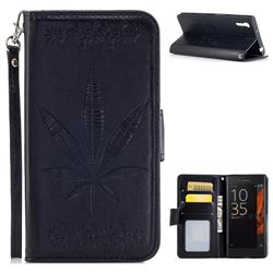 Intricate Embossing Maple Leather Wallet Case for Sony Xperia XZ XZs - Black