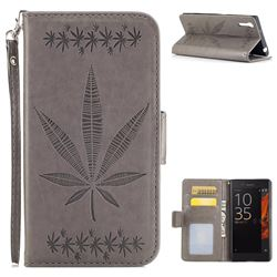 Intricate Embossing Maple Leather Wallet Case for Sony Xperia XZ XZs - Gray