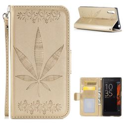 Intricate Embossing Maple Leather Wallet Case for Sony Xperia XZ XZs - Champagne