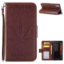 Intricate Embossing Maple Leather Wallet Case for Sony Xperia XZ XZs - Brown