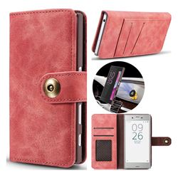 Luxury Vintage Split Separated Leather Wallet Case for Sony Xperia XZ XZs - Carmine