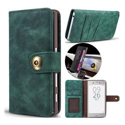 Luxury Vintage Split Separated Leather Wallet Case for Sony Xperia XZ XZs - Dark Green
