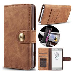 Luxury Vintage Split Separated Leather Wallet Case for Sony Xperia XZ XZs - Brown