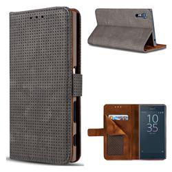 Luxury Vintage Mesh Monternet Leather Wallet Case for Sony Xperia XZ XZs - Black
