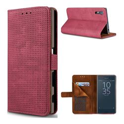 Luxury Vintage Mesh Monternet Leather Wallet Case for Sony Xperia XZ XZs - Rose