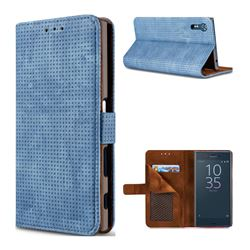Luxury Vintage Mesh Monternet Leather Wallet Case for Sony Xperia XZ XZs - Blue