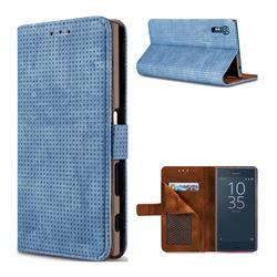 Luxury Vintage Mesh Monternet Leather Wallet Case for Sony Xperia XZ XZs - Blue