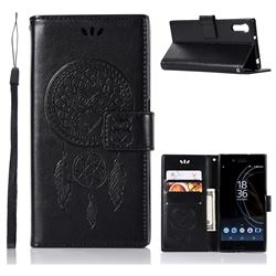 Intricate Embossing Owl Campanula Leather Wallet Case for Sony Xperia XZ XZs - Black
