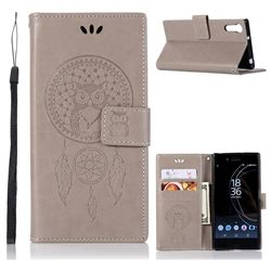 Intricate Embossing Owl Campanula Leather Wallet Case for Sony Xperia XZ XZs - Grey