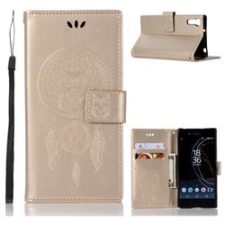 Intricate Embossing Owl Campanula Leather Wallet Case for Sony Xperia XZ XZs - Champagne