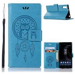Intricate Embossing Owl Campanula Leather Wallet Case for Sony Xperia XZ XZs - Blue