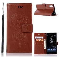 Intricate Embossing Owl Campanula Leather Wallet Case for Sony Xperia XZ XZs - Brown