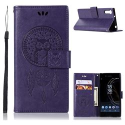 Intricate Embossing Owl Campanula Leather Wallet Case for Sony Xperia XZ XZs - Purple
