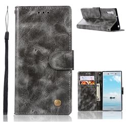 Luxury Retro Leather Wallet Case for Sony Xperia XZ XZs - Gray