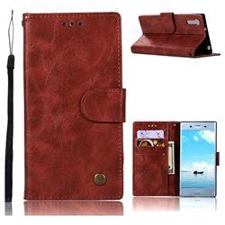 Luxury Retro Leather Wallet Case for Sony Xperia XZ XZs - Wine Red