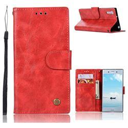 Luxury Retro Leather Wallet Case for Sony Xperia XZ XZs - Red