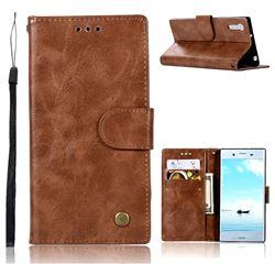 Luxury Retro Leather Wallet Case for Sony Xperia XZ XZs - Brown
