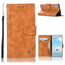 Luxury Retro Leather Wallet Case for Sony Xperia XZ XZs - Golden
