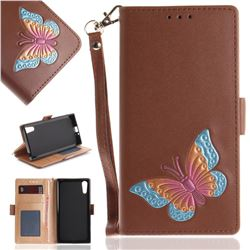 Imprint Embossing Butterfly Leather Wallet Case for Sony Xperia XZ XZs - Brown