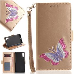 Imprint Embossing Butterfly Leather Wallet Case for Sony Xperia XZ XZs - Golden